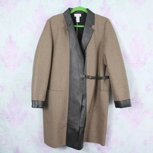 Soft Surroundings Wool Blend Vegan Leather Trench